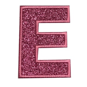 Custom Alphabet Feature Shimmery Glitter letter E Iron On Patch Embroidered