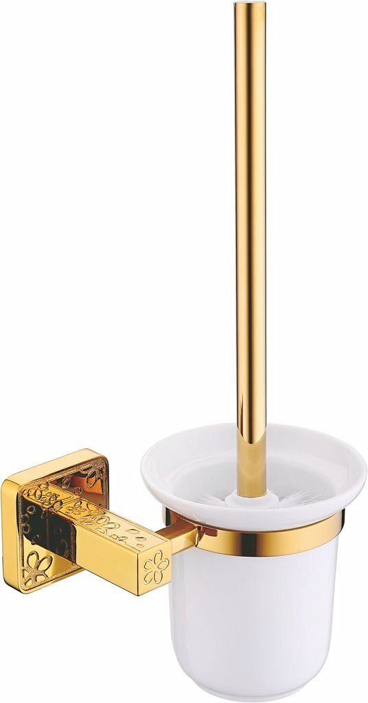 NEWBIAO Bathroom Toilet Brush Holder,Wall Mounted And Concealed Screw Mounting,Japanese Cherry Blossoms,Copper And Glass,Ti-PVD Finish