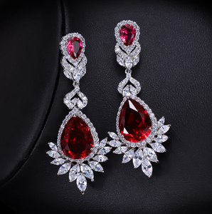 New Arrival Luxury Big Long Flower Pendant Drop Earrings With Shining CZ Bridal Women Wedding Party Jewelry