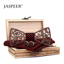 Jaspeer Made in Porcellana Fatti A Mano Nero noce tronchi di Forsining <span class=keywords><strong>3d</strong></span> logo design hollow Vintage bow tie set