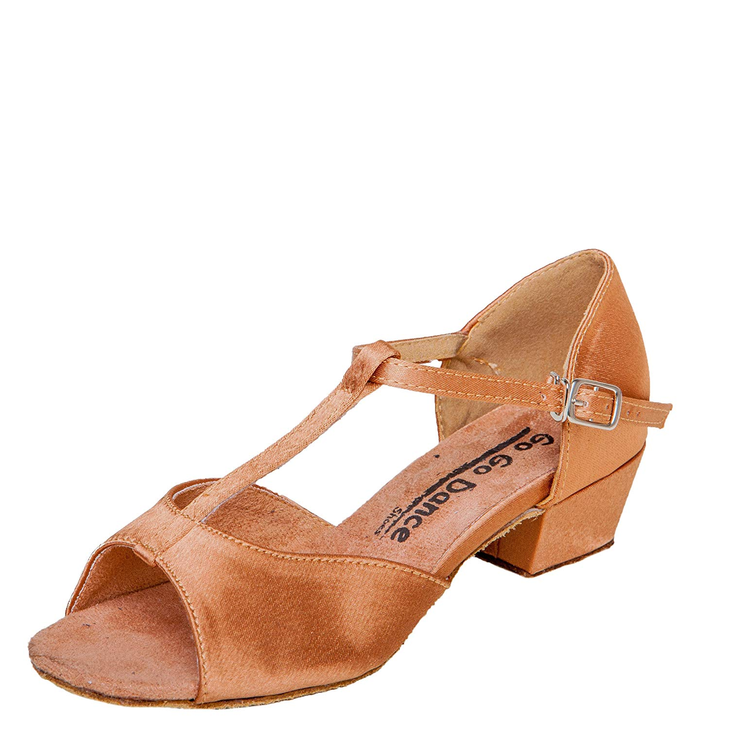 8cbac7d1bc3 Get Quotations · Gogo Dance Shoes GO3062G Girls Youth Ballroom Shoes Dark  Tan Satin with 1.5