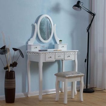 White painted modern style high gloss dresser with mirror