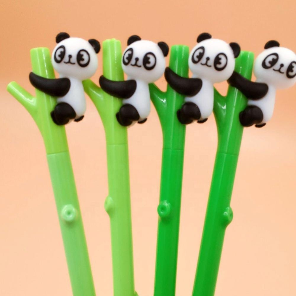 Cute Gel Ink Pen Cartoon Panda Hugs Bamboo Silicone Roller Ball Pens Black Ink 0.5mm CK495