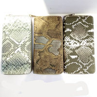 100% snake PU leather zip around womens purses and handbags wallet