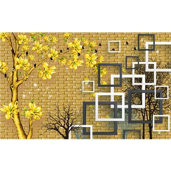 Golden Brick With Flower Wallpaper 3D Patter Design Texture Hotel Decor