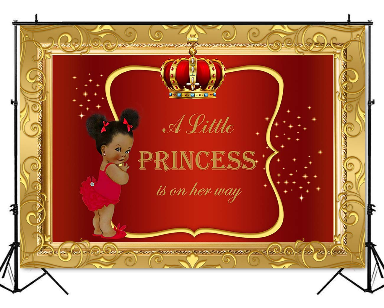 Mehofoto Royal Baby Shower Backdrop Little Girl Princess Red Gold Photography Background 7x5ft Vinyl Royal Baby Shower Party Banner Backdrops