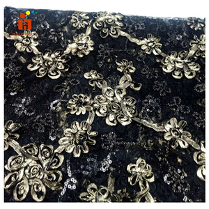 HLTP113 Hot selling Black Embroidery Sequins Tulle Lace Fabric