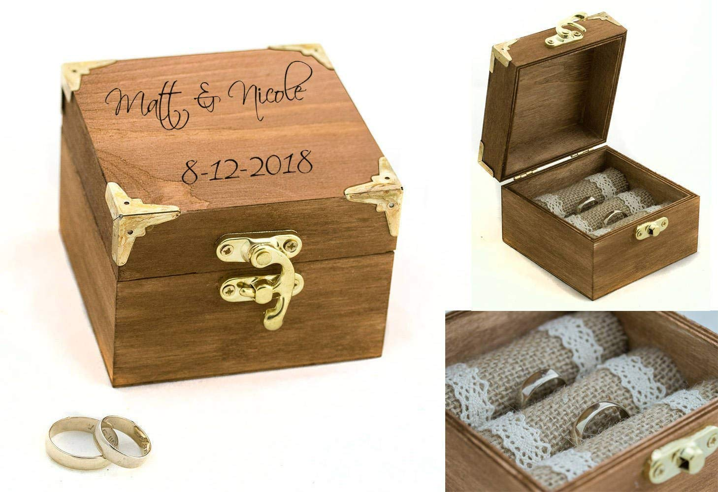 Engraved ring box, Custom ring bearer box, Wedding ring box, Personalized wedding box, Ring Bearer Pillow, Engagement box, Wedding Ring Box Holder, Proposal box, Wooden box