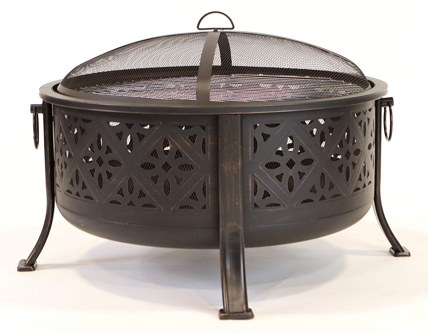 """ISO Fire Pit - 30"""" Round Bowl and BBQ, Includes Grate, Mesh Cover, Poker"""