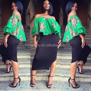 Latest Style Off Shoulder African Kitenge Dress Fashion