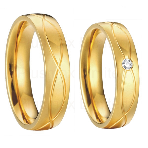 Get Quotations · Classic Vintage Mens And Womens18k Gold Plated Health  Titanium Wedding Bands Engagement Promise Rings Set Aneis