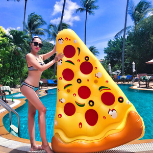 Wholesale Custom adult Beach inflatable water air bed pizza slice pool floating mattress pizza float