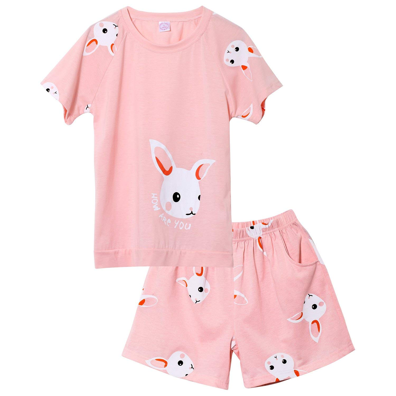 1e00ca009 Get Quotations · Tween Girls Cute Cotton Pajama Set Summer Pink Sleepwear  Shorts Nighty for Big Girls Size 12