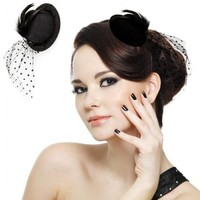 Feather Veil Hair Clip Black Mini Top Hat Party Cosplay Goth