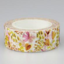 1 Pc / Pack High Quality Flower Plant Pattern Japanese Washi Decorative Adhesive Tape Diy Masking Paper Tape Label Sticker