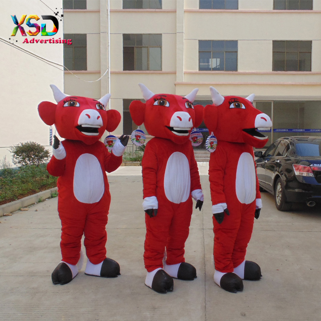 red cow mascot costume with white horn for marketing promotion