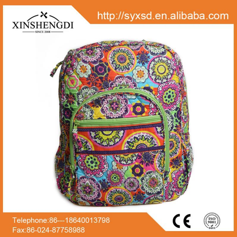 Hot selling cotton floral quilted fabric foldable school bags very young models for kids