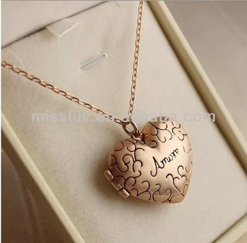 Vintage Heart Gold Silver Plated Pendant Necklace Jewelry Letter