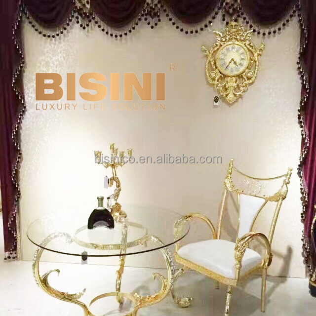 Luxury French Baroque Design Brass 18K Gilded Armchair With Coffee Table/  Royal Golden Leather Decorative