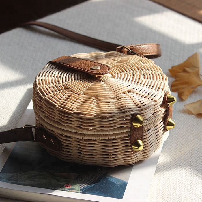 2018 Fashion Handmade rattan round bags beach bags for women