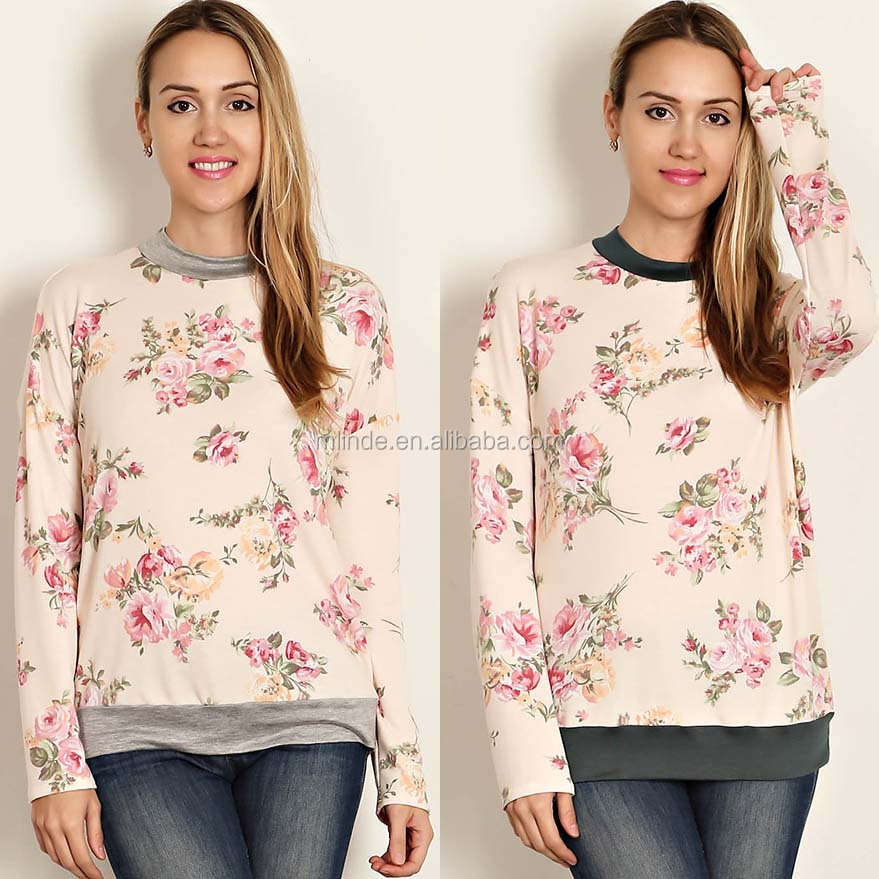 Online Clothes Shopping Top Design Long Sleeves Round Neck Floral Print Raglan Pullover Woman