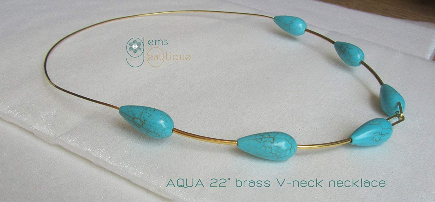 "GemsBeautique Artisan Aqua Gold V-Neck Ring 22"" Choker Necklace Crafted from a Single Piece of Brass. Soft V form. Turquoise Magnesite. Deep V neck, boat, turtle blouse, dress or sweater necklace."