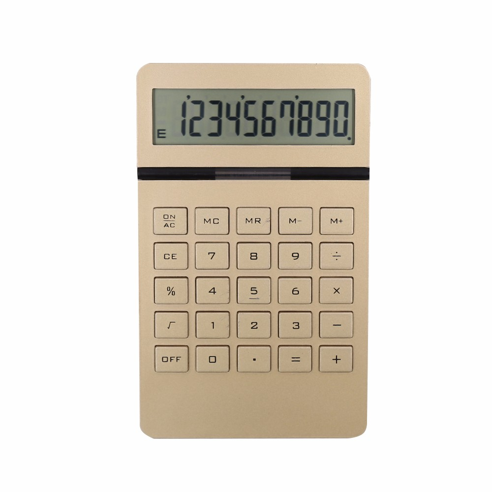 Groothandel Gold Aluminium 10 Digit Display Dual Power Desktop Calculator voor Kantoor