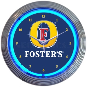 BEER FOSTERS BEER 12v neon clock 15 inches round neon clock clock custom neon light sign wholesale suppliers