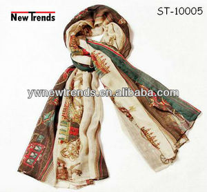 New arrival ! Cream horse printing voile scarf with border