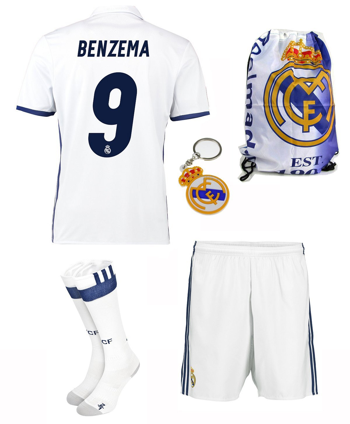 8edd5fe03 Get Quotations · KIDBOX 2016 2017 Real Madrid  9 benzema Home Soccer  Football Jersey Sportswear Team Polo