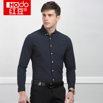 New Men S Business Casual Long Sleeve Shirt Cotton Striped