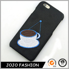 Black leather cell phone case coffee cup image phone cover