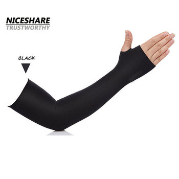 sports spandex seamless compression heat finger holes arm sleeves