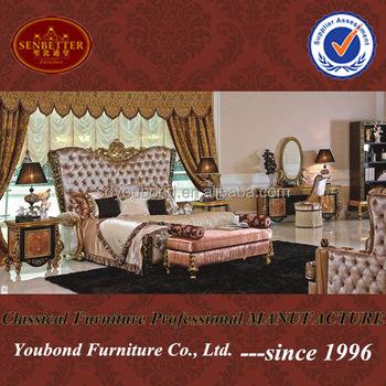 0061 Dubai Classic Wooden Carving Design Bedroom Set Hotel/villa Used  Bedroom Furniture For Sale