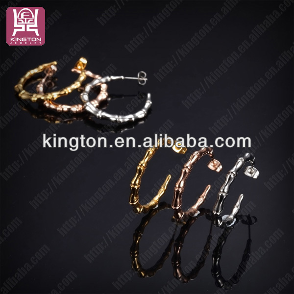 2014 popular stainless steel bamboo hoop fashion earrings