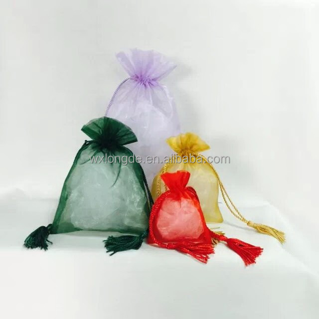 multi-use organza bag/pouch with tassel for gift/jewellery/cosmetics