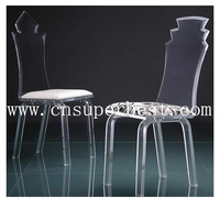 Transparent Acrylic Dining Chair With White Tufted Vinyl Cushion ...