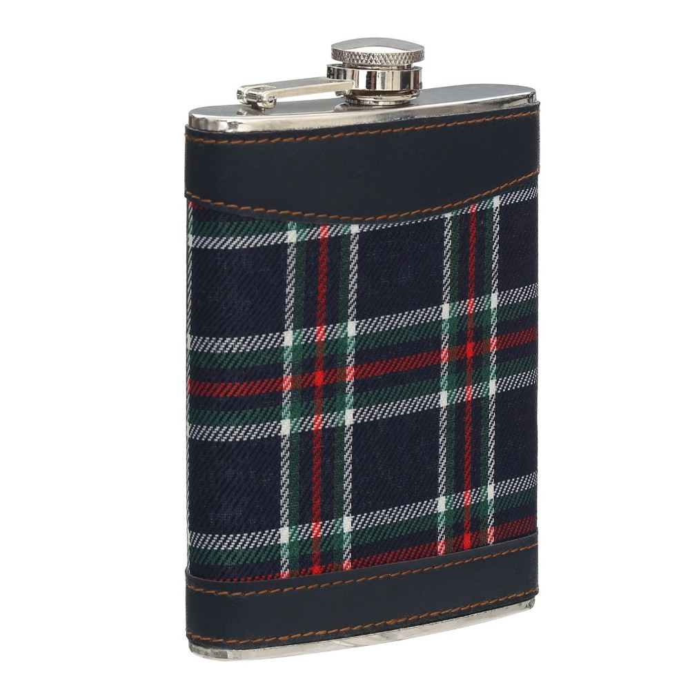 High quality Tartan Cover Hip Flask,canvas tartan hip flask holder,skidproof tartan hip flask
