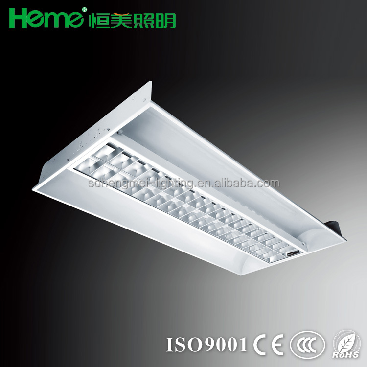 Fluorescent recessed indirect lighting troffer
