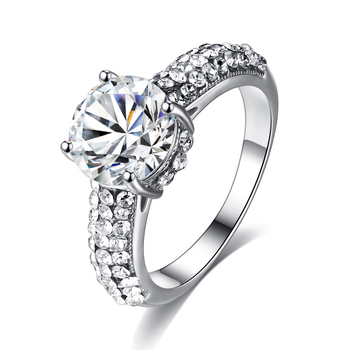 Diamond Engagement Princess Gold Simple Clear Crystal Ring R14