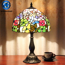 Tiffany lights lighting with coloured stained glass flower patterned lamp shade china wholesale price