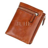 Custom faux leather zipper around short type women vintage wallet