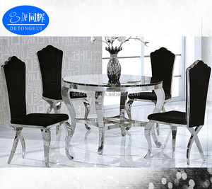 Dining room furniture 110cm round marble top dining table and chairs(CT-804# CY-827-1#)
