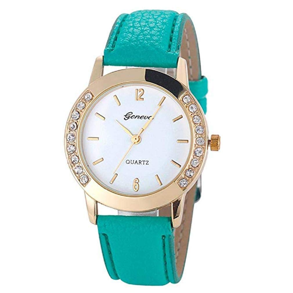 Women Quartz Watches,Windoson Unique Analog Fashion Clearance Lady Watches Female Watches Casual Wrist Watches for Women,Round Dial Case Comfortable PU Leather Watch (Green)