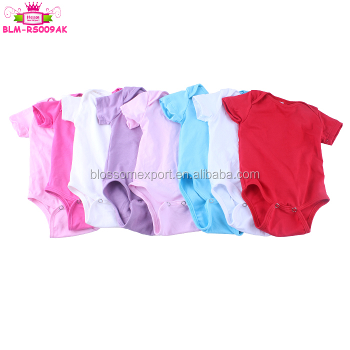 Fashionable Baby Clothes Girl Romper Short Sleeve Rompers Infant Plain Baby Wears Romper