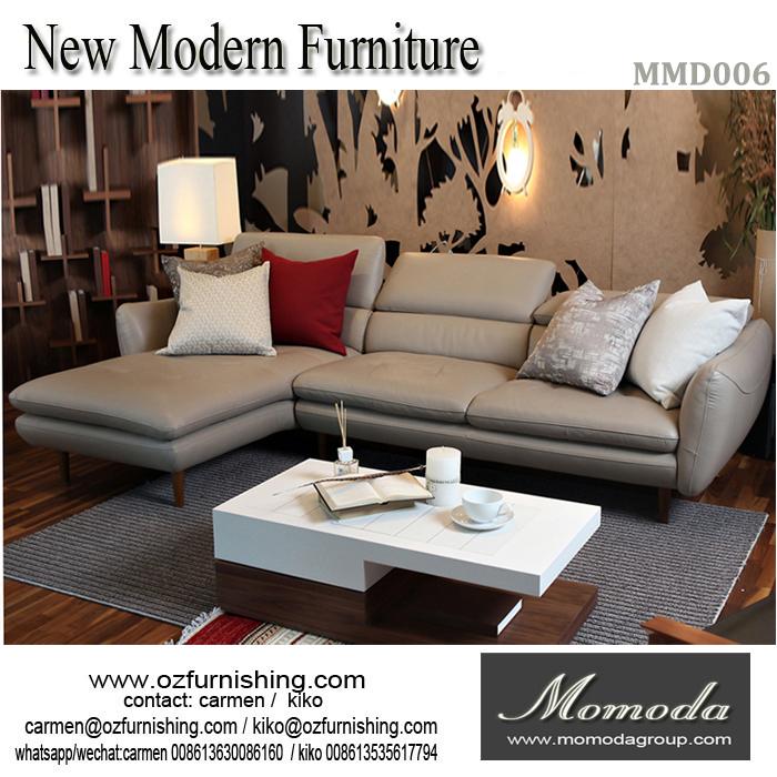 2017 diseño moderno muebles sofá seccional de cuero de grano ...