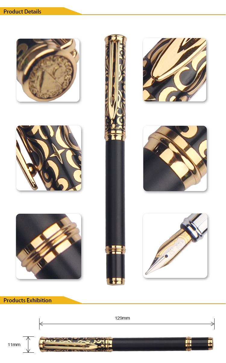 High Quality Luxury custom logo high quality black gold pen fountain pen metal