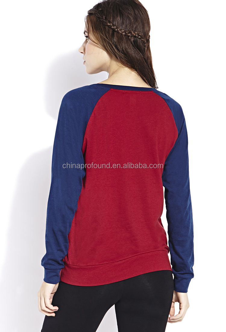 Guangzhou manufacturer OEM raglan sleeve plain sweatshirts women clothing