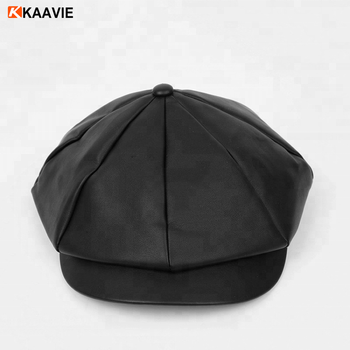 Customize Leather Blank Newsboy Hats Caps - Buy Black Leather ... 85d1e7ed4cf4