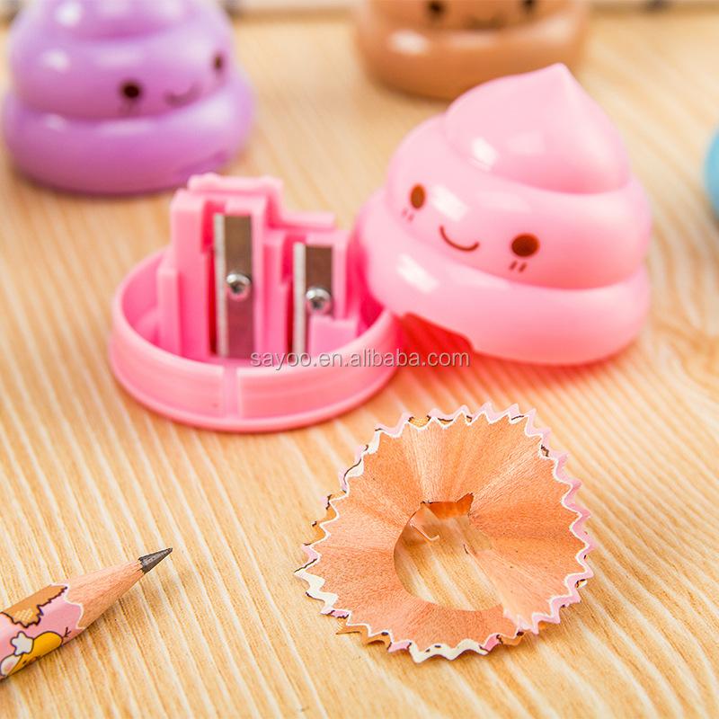 Забавные милые двойные отверстия Poo Пластиковая точилка для карандашей
